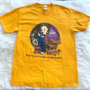 Vintage 03 Betty Boop Yellow Graphic T-shirt Tee
